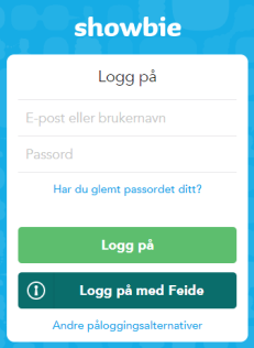 Showbie Feidepålogging
